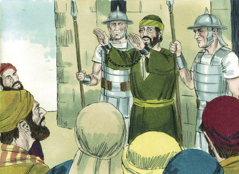 Paul addresses his people in the temple under guard.