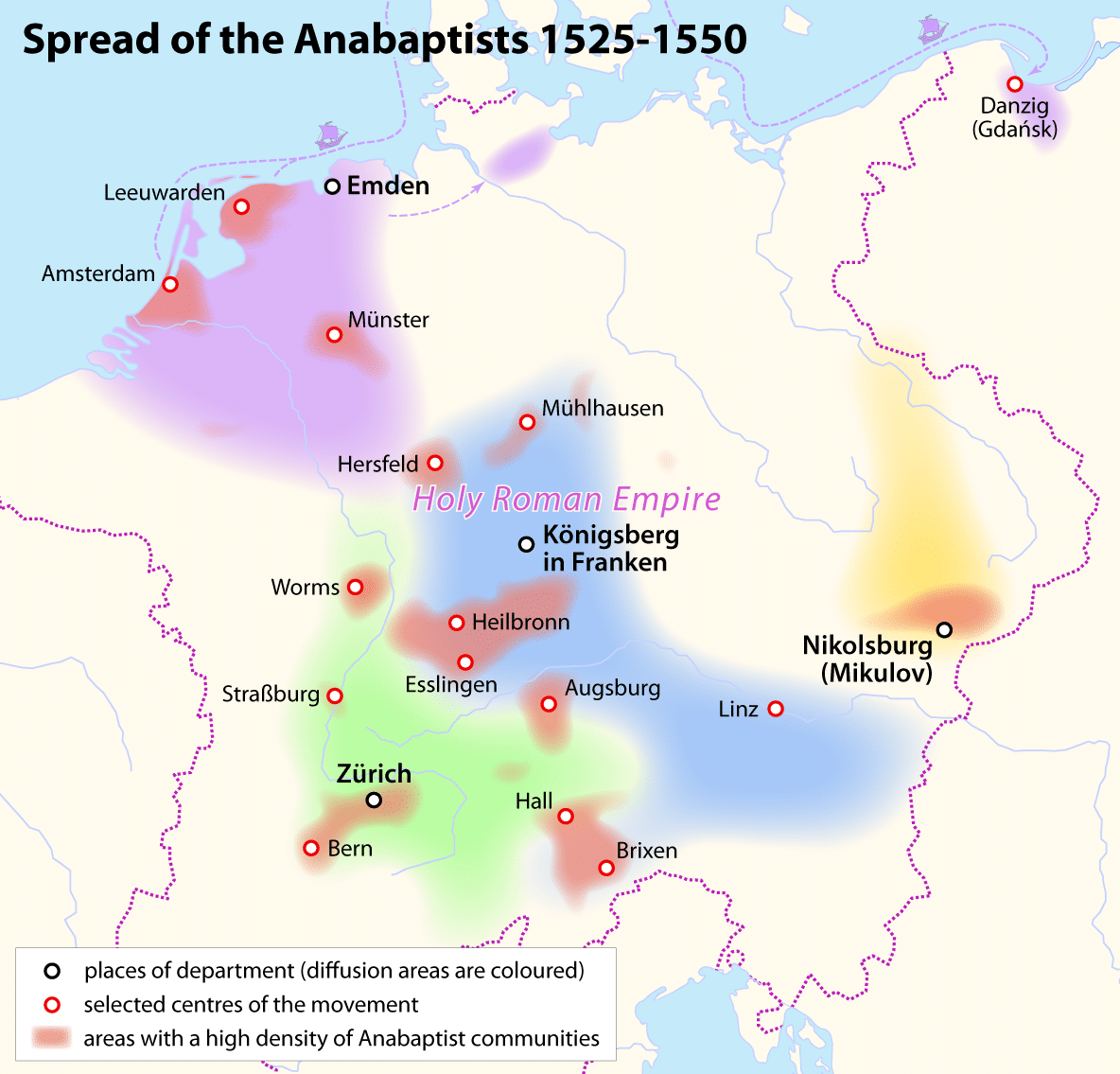 Map Spread Of The Anabaptists 1525 1550 Png